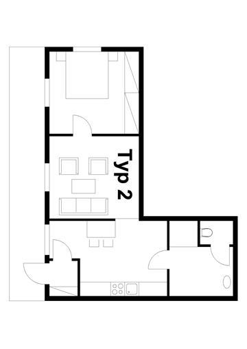 2 fős apartman alaprajz