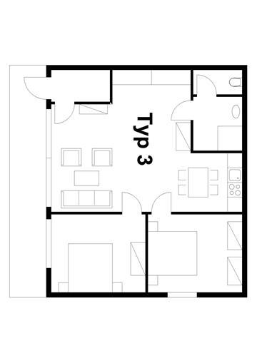 4 fős apartman alaprajz