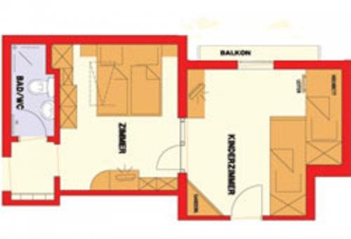 Családi szoba erkély nélkül: alaprajz