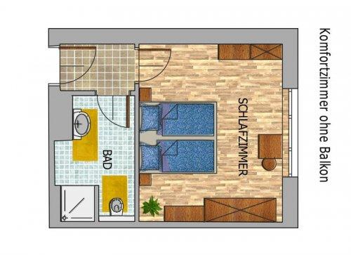 Kétágyas szoba erkély nélkül: alaprajz
