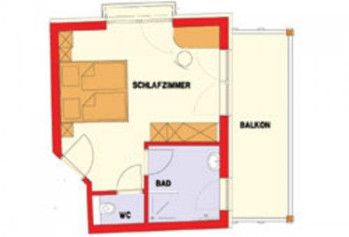 Kétágyas szoba erkéllyel, különálló mellékhelyiséggel: alaprajz